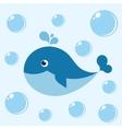Cute cartoon blue whale vector image vector image
