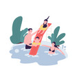 cute family having fun at water park mom dad and vector image