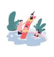 cute family having fun at water park mom dad vector image vector image