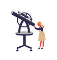 cute little girl looking into telescope vector image vector image