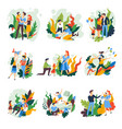 family pastime parents and children isolated vector image