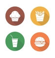 Fast food flat design icons set vector image vector image