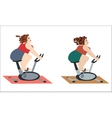 Fat girls are happy to train on the bike vector image vector image