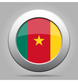Flag of Cameroon Shiny metal gray round button vector image vector image