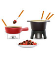fondue icon set realistic vector image vector image
