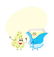 funny blue cheese and cream butter characters vector image vector image