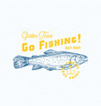 go fishing golden trout abstract sign vector image vector image