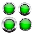 green buttons with chrome frame round glass shiny vector image vector image