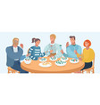 group of people are eating vector image vector image