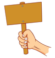 Hand holding blank sign