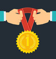 hands with medal vector image
