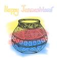 happy janmashtami indian fest dahi handi on vector image