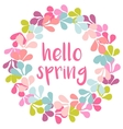 Hello spring pink watercolor wreath card vector image vector image