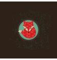 Hipster fox emblem vector image vector image