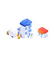 houses and equipment in isometric from production vector image