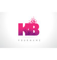 kb k b letter logo with pink purple color and vector image