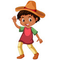 mexican boy wearing hat vector image vector image