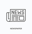 newspaper flat line icon outline vector image vector image