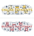 Online Payments and Business Investment headings vector image