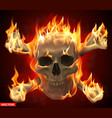 realistic burning human skull with crossed bones vector image
