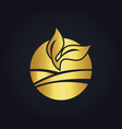 round nature gold leaf seed logo vector image vector image
