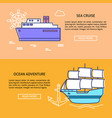 sea travel concept banner templates with place for vector image vector image