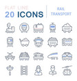set line icons rail transport vector image vector image