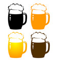 set with colorful beer mugs vector image vector image