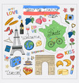 tour to france icon sethand draw vector image vector image