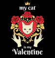 valentine card concept white cat face vector image vector image