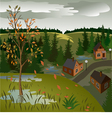 View of landscape of autumn town from hill vector image vector image