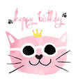 watercolour pink funny cat with crown happy vector image vector image