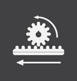 white icon on black background during gear vector image vector image