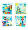 woman laundry house cleaning mop vacuum broom vector image vector image