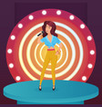 woman singer star singing pop song with microphone vector image