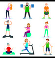 workout people set vector image