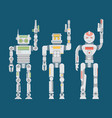 robot flat icons set machine technology ai vector image