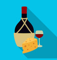 a bottle of alcohol wine in a glass and cheese vector image vector image