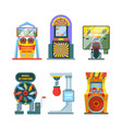 arcade game machine set retro gaming machine vector image