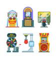 arcade game machine set retro gaming machine with vector image