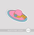 beach hat icon summer vacation vector image vector image
