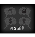Business icons on the blackboard vector image