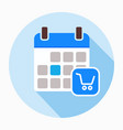 calendar with shopping cart icon vector image