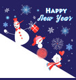 christmas greeting card with funny snowmen vector image vector image