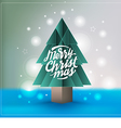 Christmas tree paper style with Merry Christmas vector image