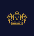 coat of arms letter v company vector image vector image