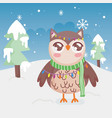 cute owl lights trees snow merry christmas vector image