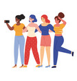 female friends taking selfie happy young vector image