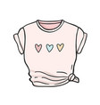 female t-shirt with knot hand drawn vector image