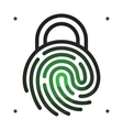 Fingerprint with lock shape vector image vector image